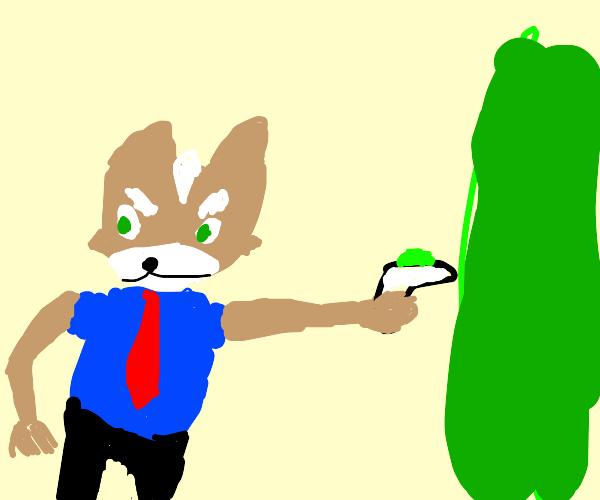 Fox (in shirt and tie) uses Rick's portal gun