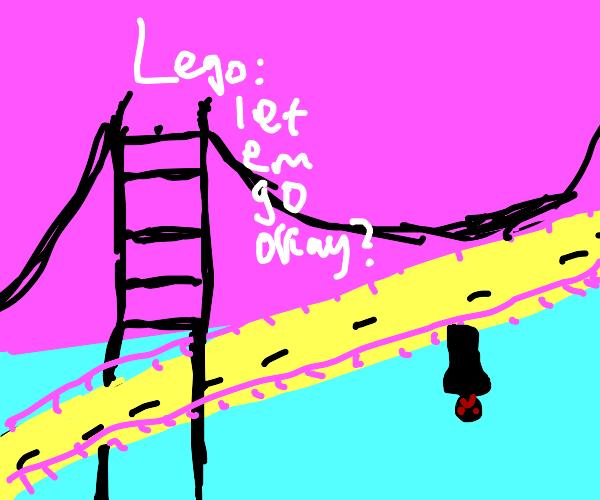 A man has fallen into a river in lego city