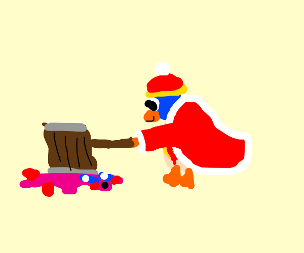 Dedede smashes Kirby