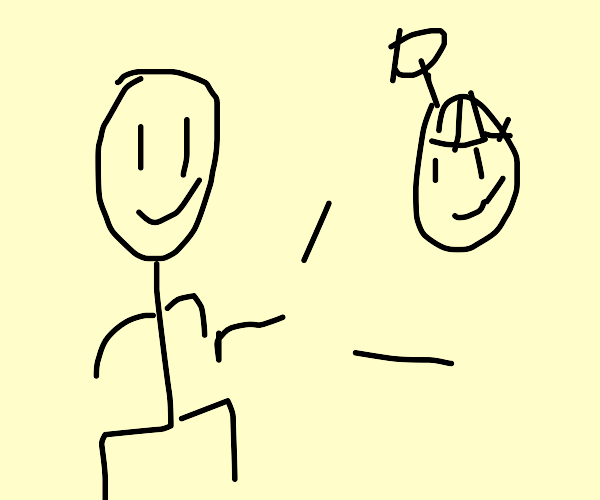 Man shooting a flying head