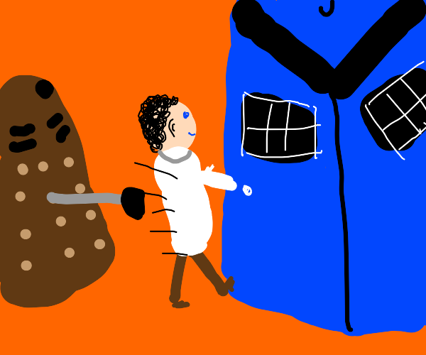 The Doctor flees Daleks to hide in the TARDIS