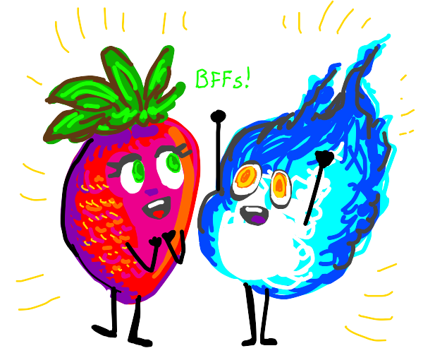 Strawberry and blue fire are friends
