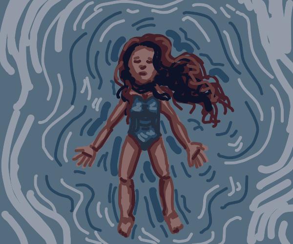 girl floats in water