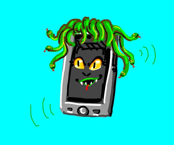 Medusa as a phone, still with snake hair