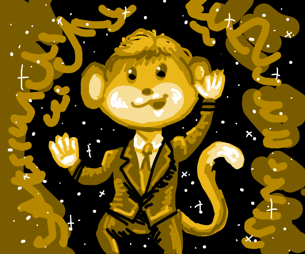 monkey in space with a suit on.
