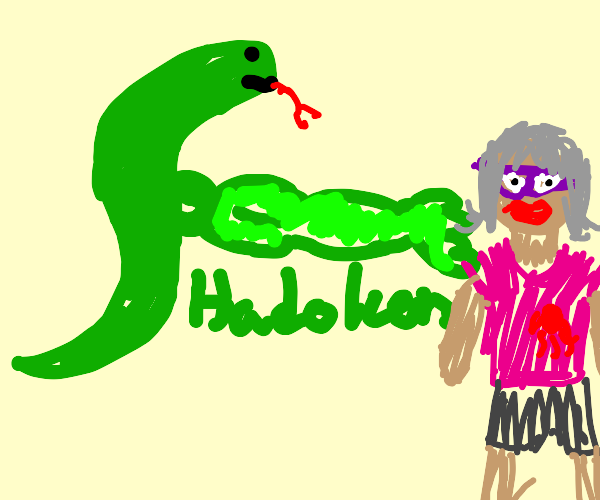 A snake punching a woman who has been shot