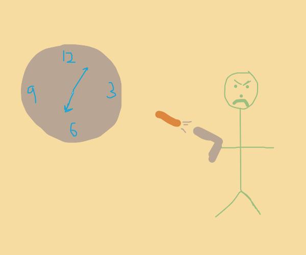 Man pissed off at clock, shoots orange bullet