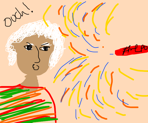 a firecracker flying into someone's eye