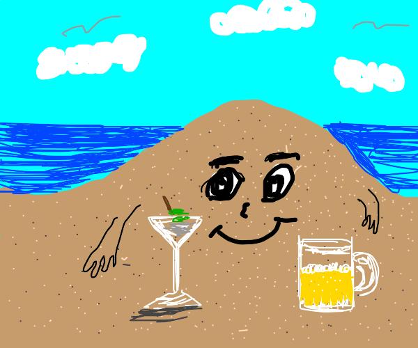 A pile of sand enjoying alcoholic beverages