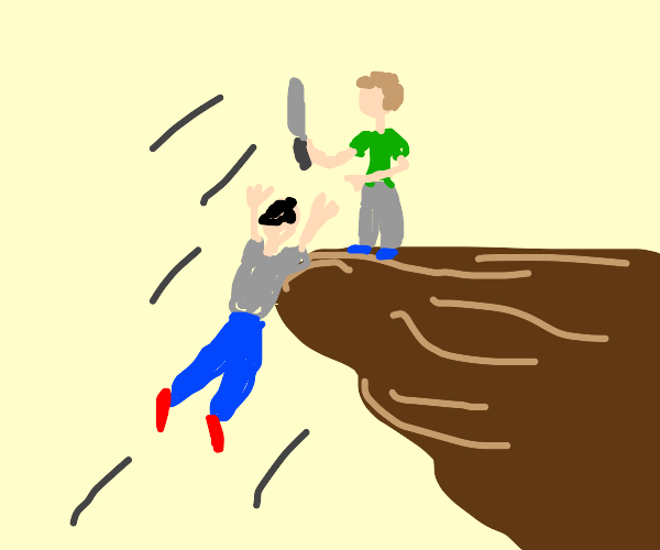 man with knife pushes man off cliff purposely