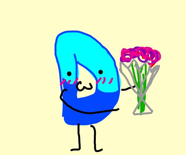 "Blushing Drawception ""D"" giving a flower"