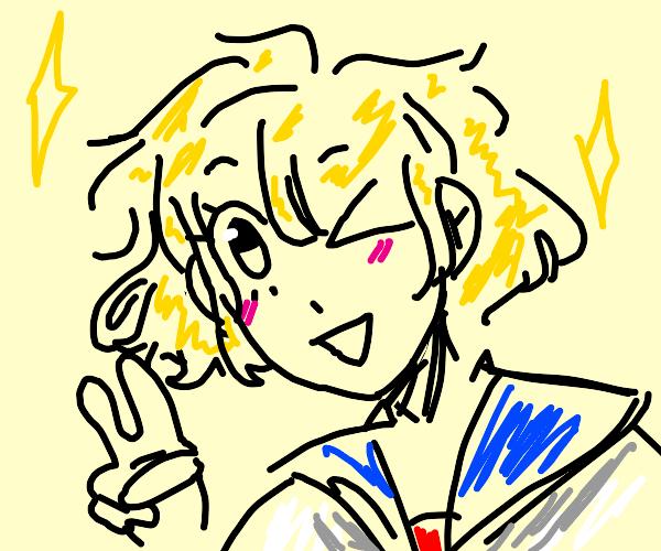 Winking anime girl