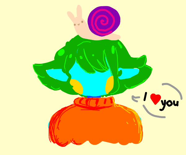 girl with snail on her head loves you
