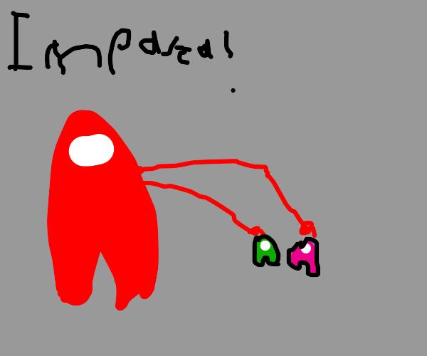 Red crewmate calls pink and green impostors