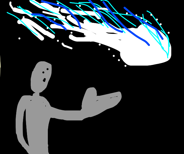 guy with a huge hand stares at a meteor