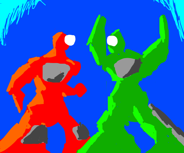 red and green cyborg argue