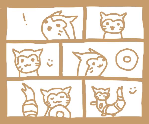 Furret (Pokémon) eats a bagel.