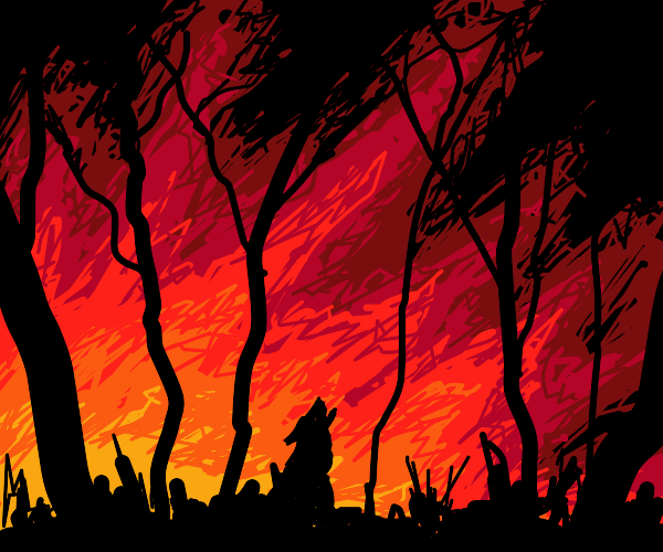 A wolf in a forest fire