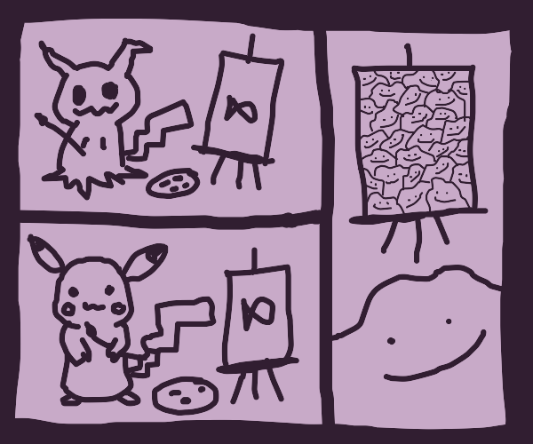 a artistic sea mimickyu,pikachu and ditto