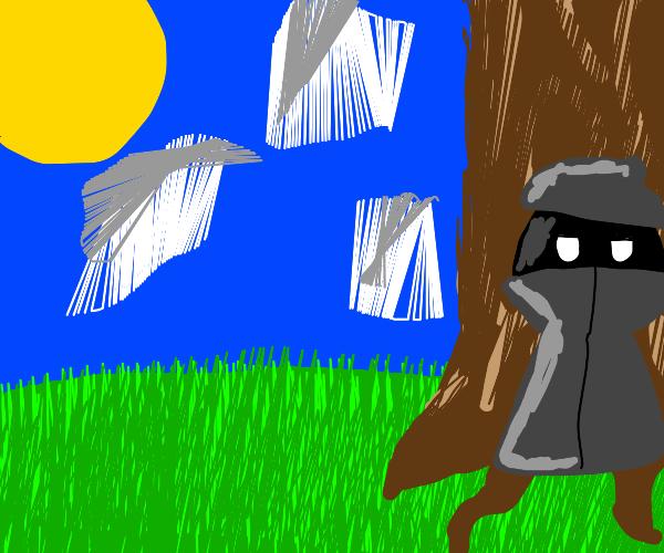 drug dealer waiting at a tree