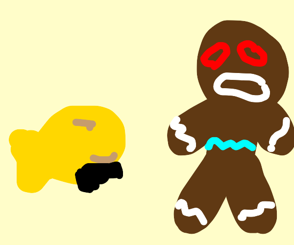 Goldfish cracker messing up a gingerbread man