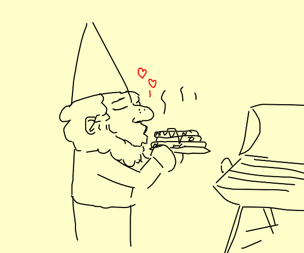 Gnome kisses burnt pancakes made on grill?