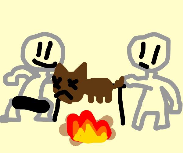 Naked men roast a pig