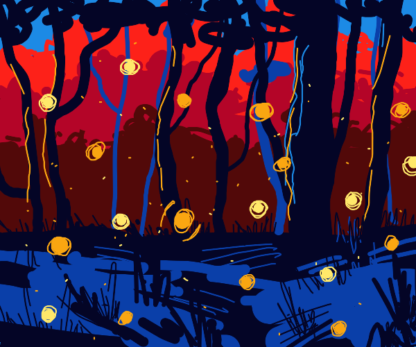 fireflies in the forest during nightime