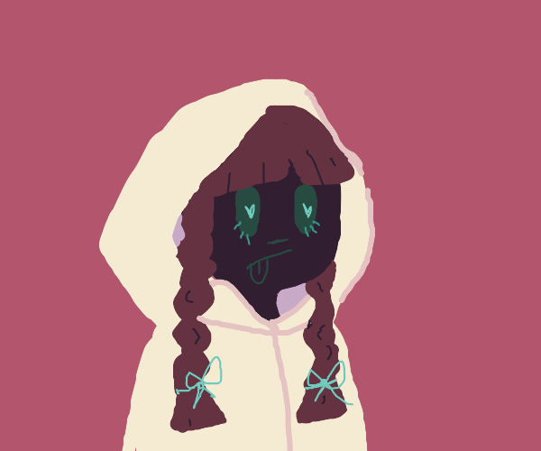 girl with brown pigtails and a cream hoodie