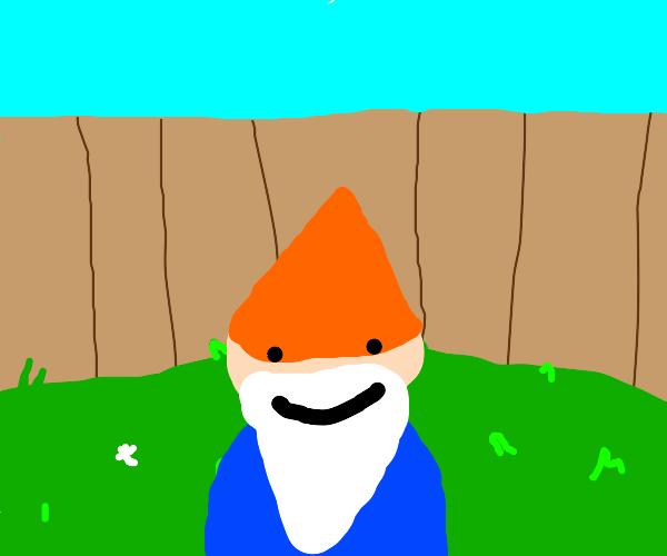 A gnome in a yard