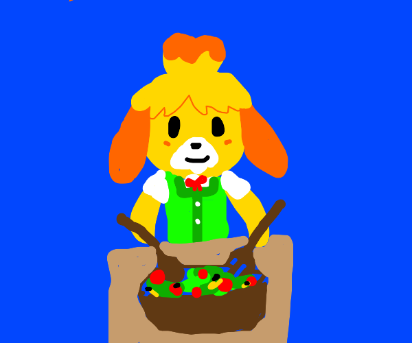 Isabelle (Animal Crossing) making salad