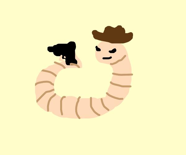 Terrifying worm cowboy