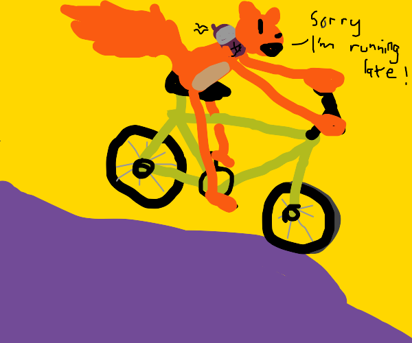 Apologetic squirrel riding a bike