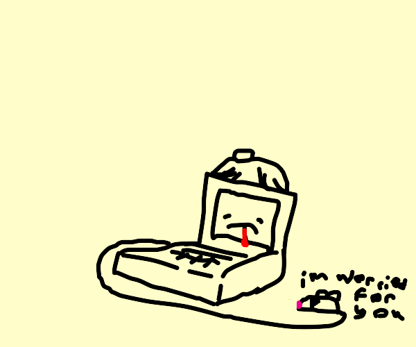 Sick Computer and Worried Mouse Friend