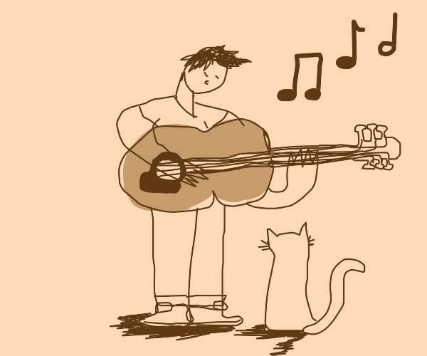 Guitarist with a cat