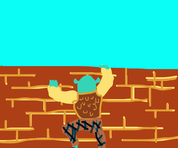 Shrek is climbing a brick wall!!