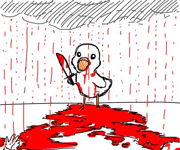 Cute duck commits mass murder