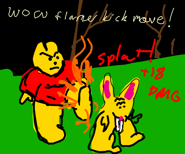 Winnie the Pooh delivers flaming kick