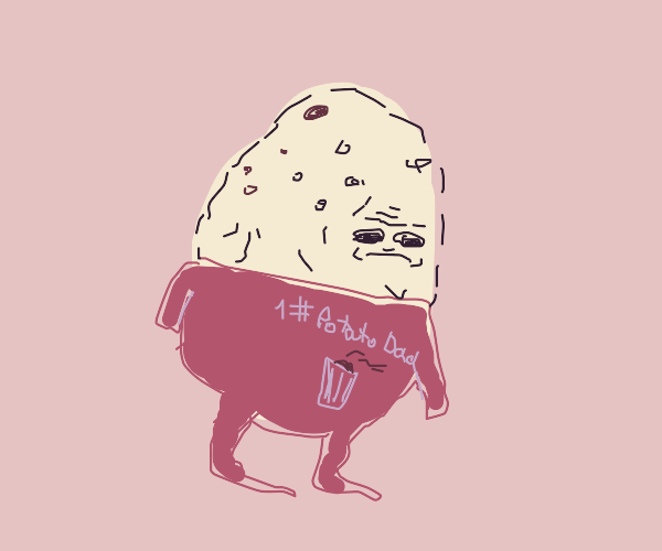 Potato Dad in a t-shirt with a can of pop