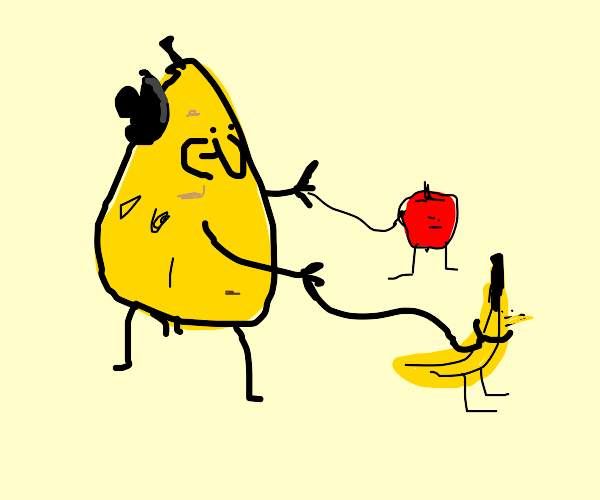 Pear taking apple and banana pets on a walk
