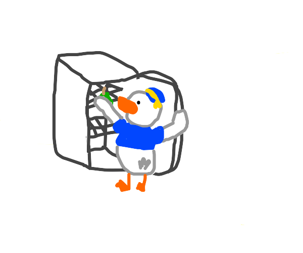 donald duck puts a pear in the fridge
