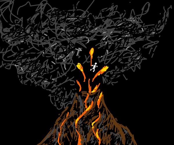 skeleton in a volcano eruption