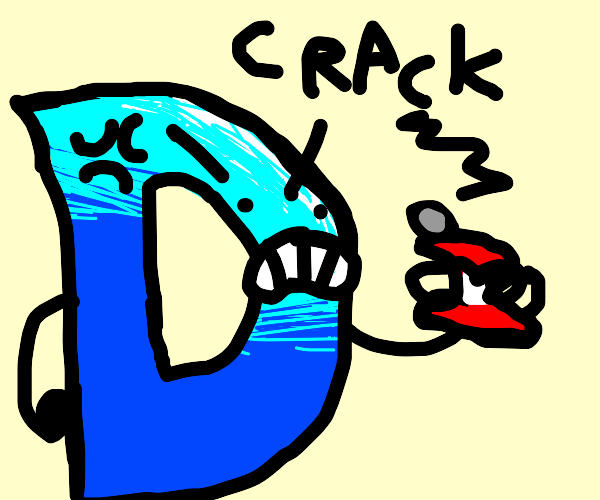 D crushes a can in anger