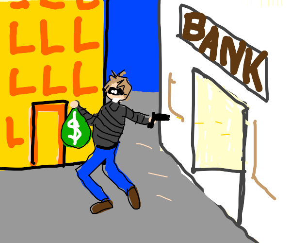 A robber with a mask, gun and money sack