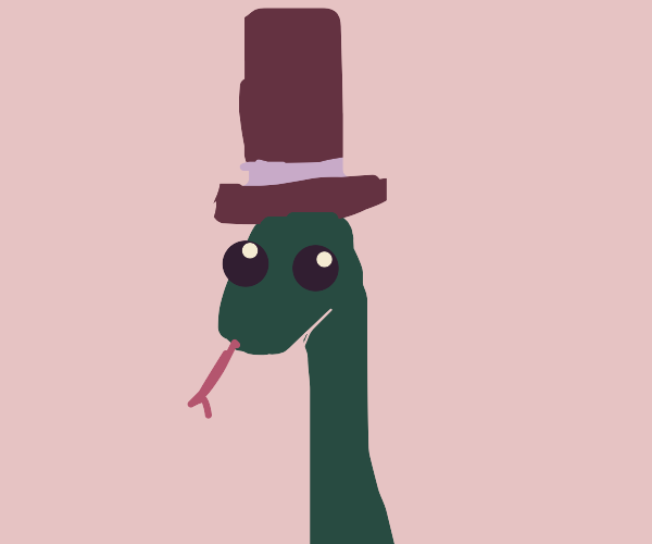 A cute snake with a top hat