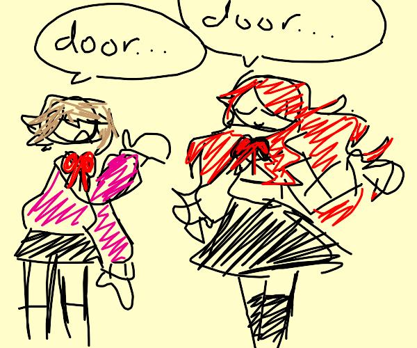 homies chatting about door