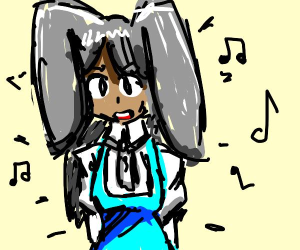 Cute bunny sings