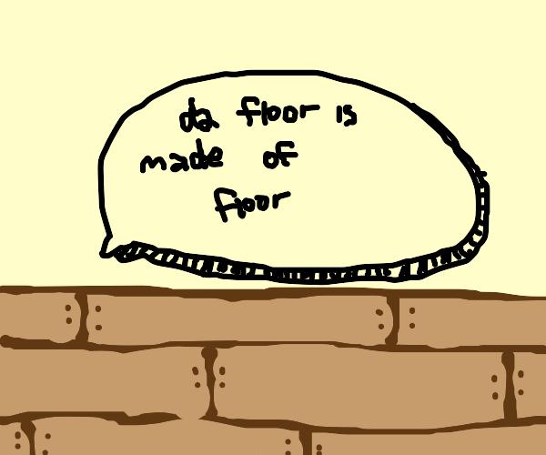wooden floor saying da floor is made of floor