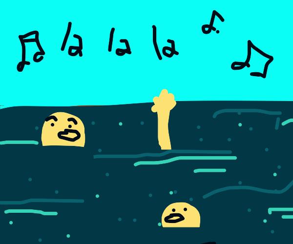 people in the ocean sing as they drown