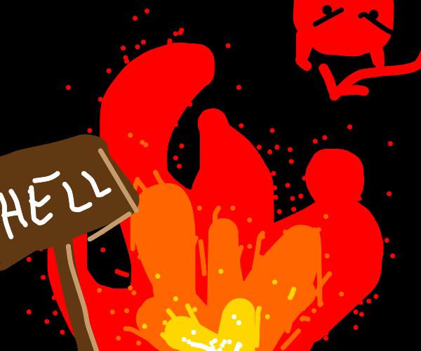 Red devil in a fiery hell